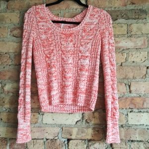 Free People XS red and white cable knit sweater